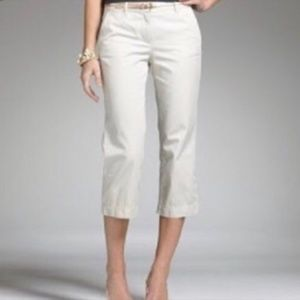 J. Crew City Fit Stretch Capri Ivory Crop Pants 8
